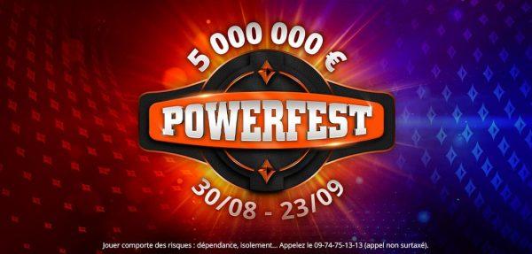 POWERFEST revient sur partypoker.fr avec 5 M € GTD  du 30août au 23septembre2020