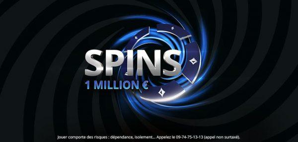 La somme record de 1 000 000 € a été remportée hier soir  sur les SPINS au buy-in de 5 € sur le réseau européen de partypoker.