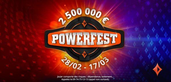 POWERFEST revient sur partypoker.fr avec 2,5 M € GTD  du 28février au 17mars2021